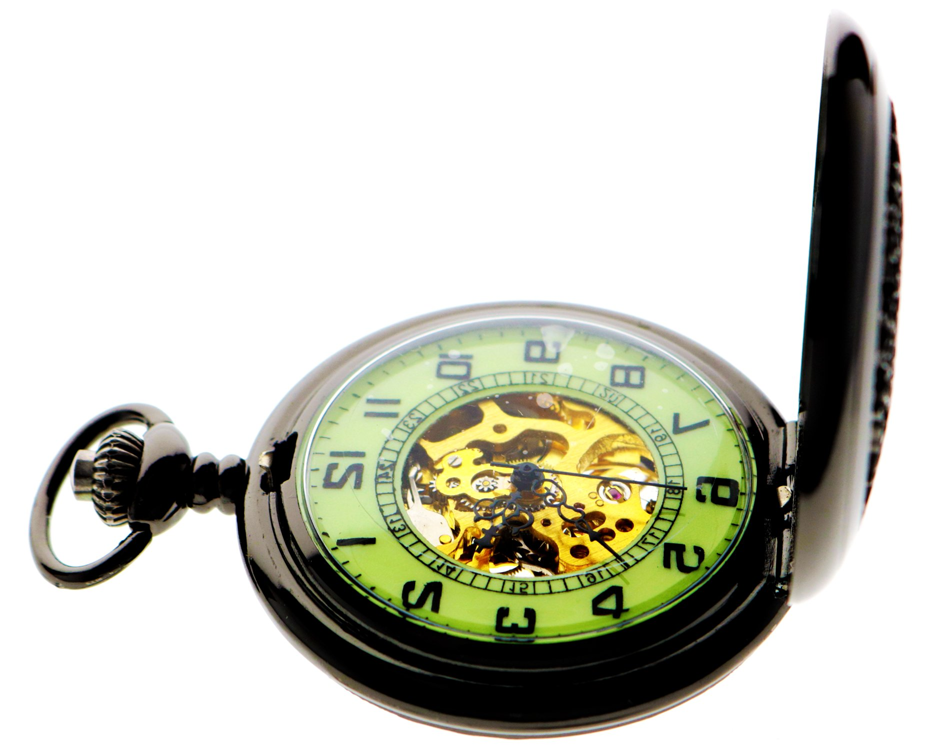 Steampunk Vintage Roman Letters Design Case Mechanical Pocket Watch with Chains for Xmas Gifts 5