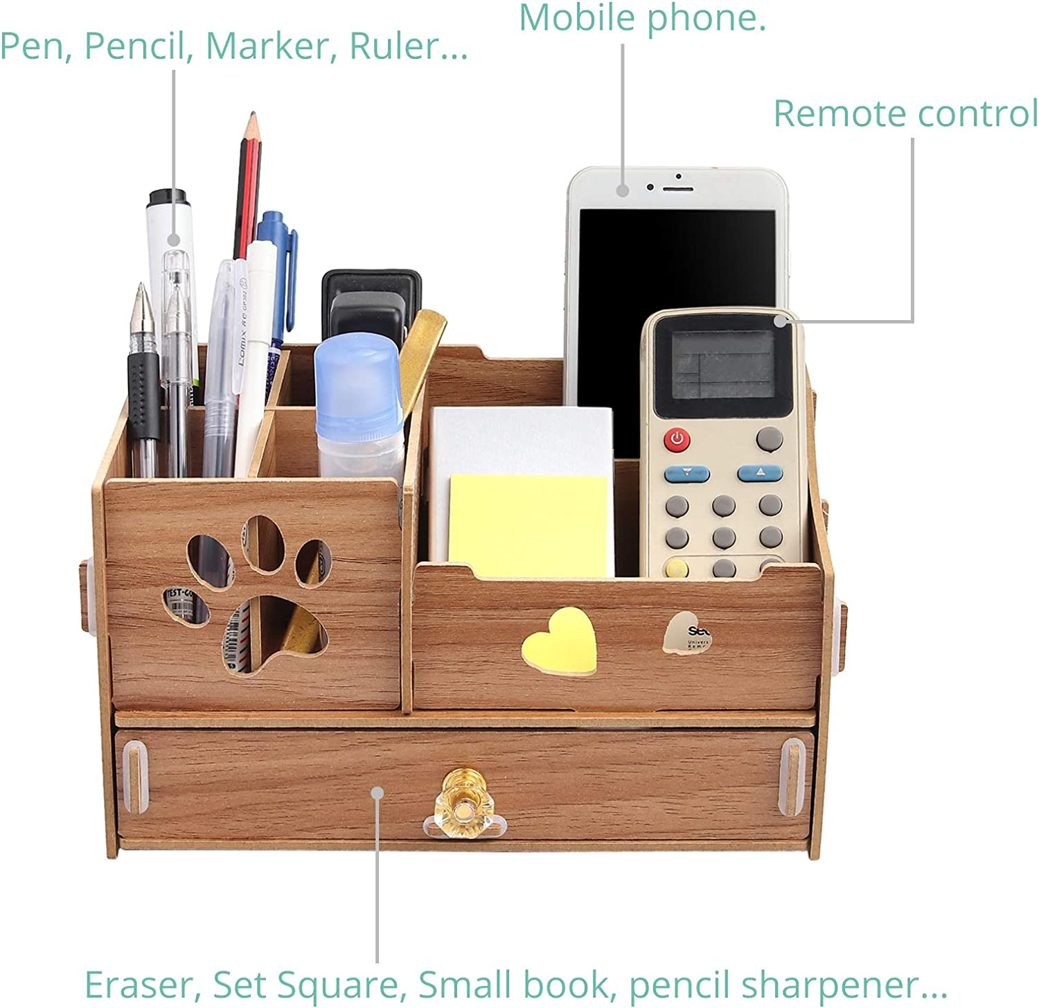 Home and School Pen//Pencil Holder Storage Box for Office Multifunctional DIY Desk Tidy Stationery Storage Box with Drawer COLFULINE Wooden Desk Organiser