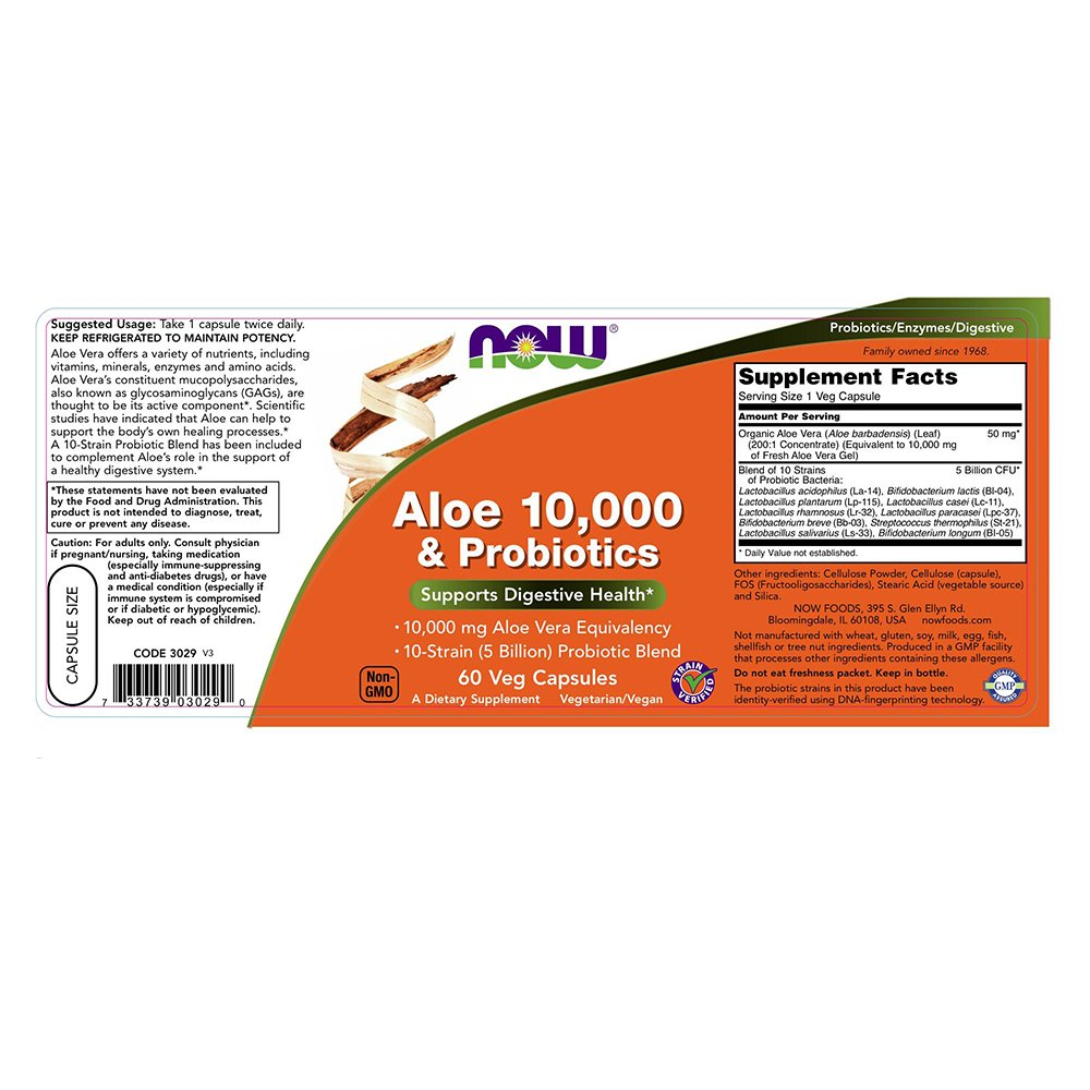 Amazon.com: NOW Aloe 10,000 & Probiotics,60 Veg Capsules: Health & Personal Care