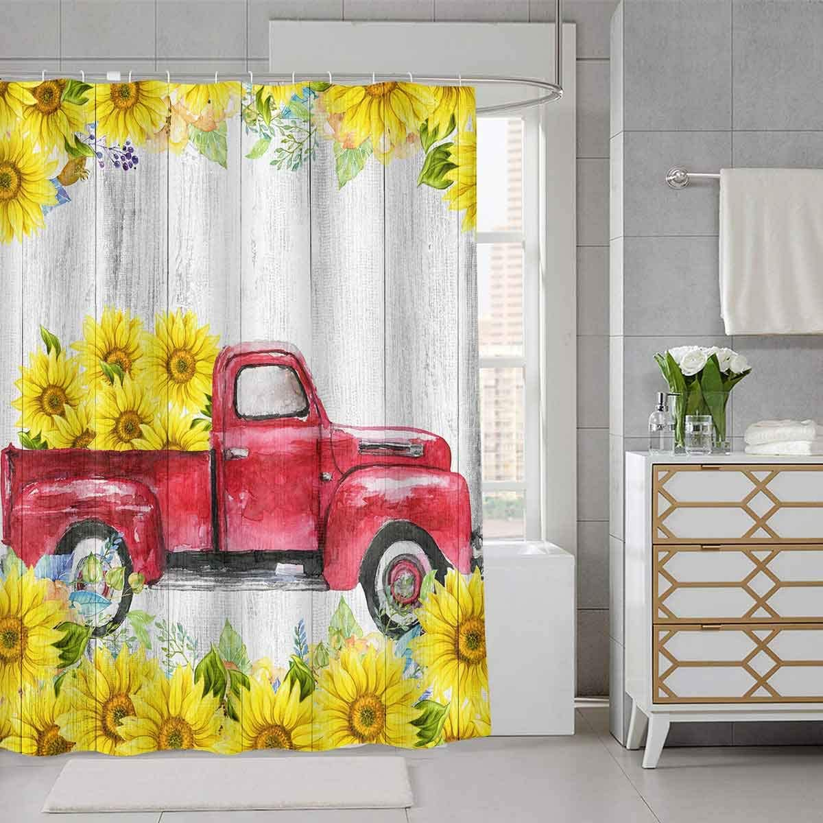 SDDSER Vintage Truck Sunflower Flower Shower Curtain Floral Wood White Striped Fresh Design of The Farmhouse Decor Bathroom Curtain for Kids, 72 x72 in Bathtub Showers Waterproof Fabric with 12 Hooks