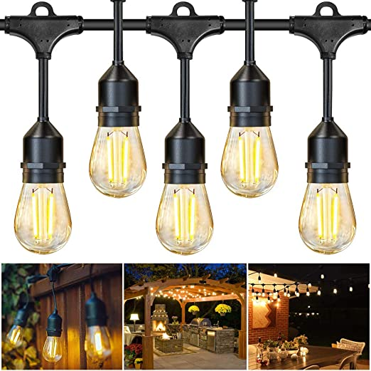 Juslit Outdoor String Lights 48ft Led Patio Christmas String Light 16 Edison Bulbs 15 Hanging Sockets Ul Listed Waterproof Lighting For Decorative