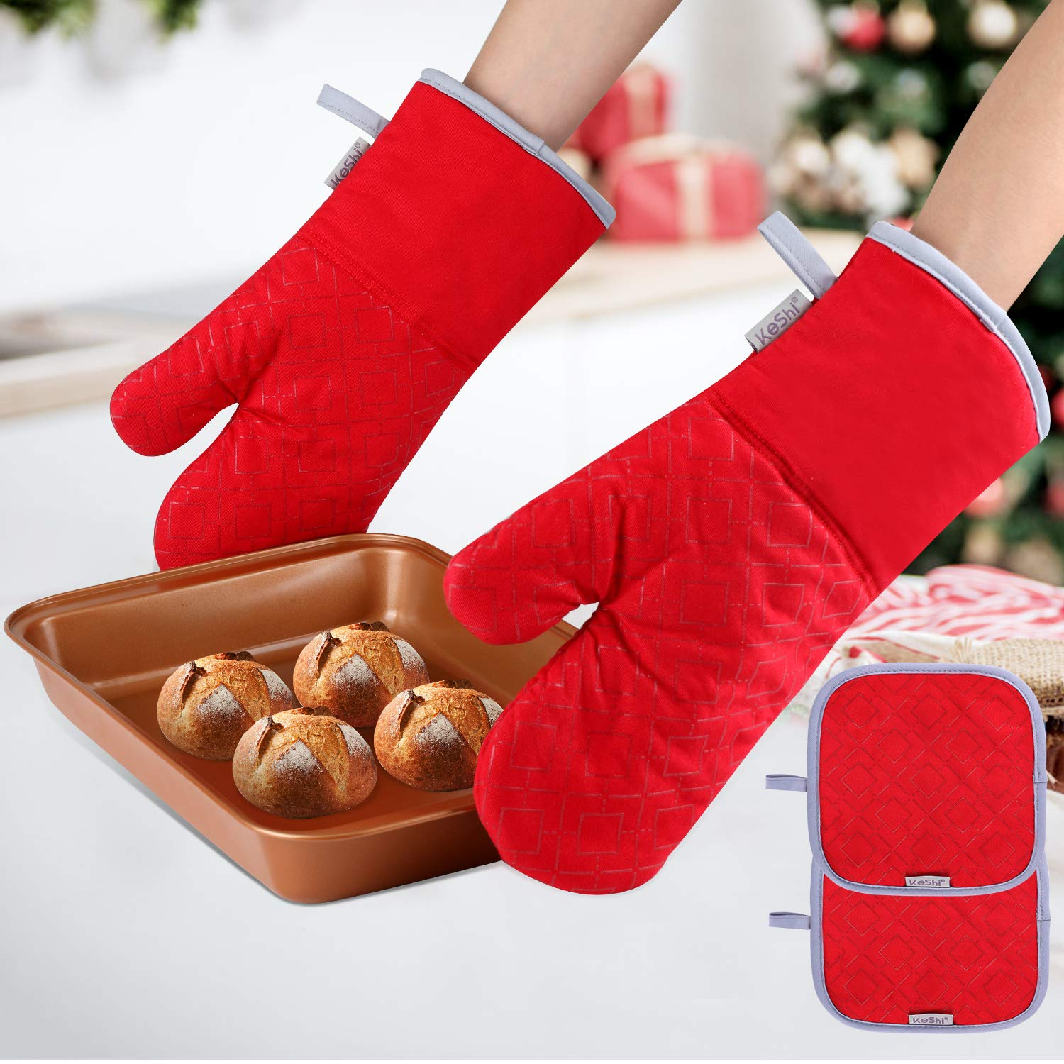 KeShi Kitchen Oven Mitts Set, Oven Mitts and Pot Holders, Heat Resistant with Quilted Cotton Lining, Non-Slip Surface 4 Pieces for Cooking, Baking, Grilling, Barbecue (Red)