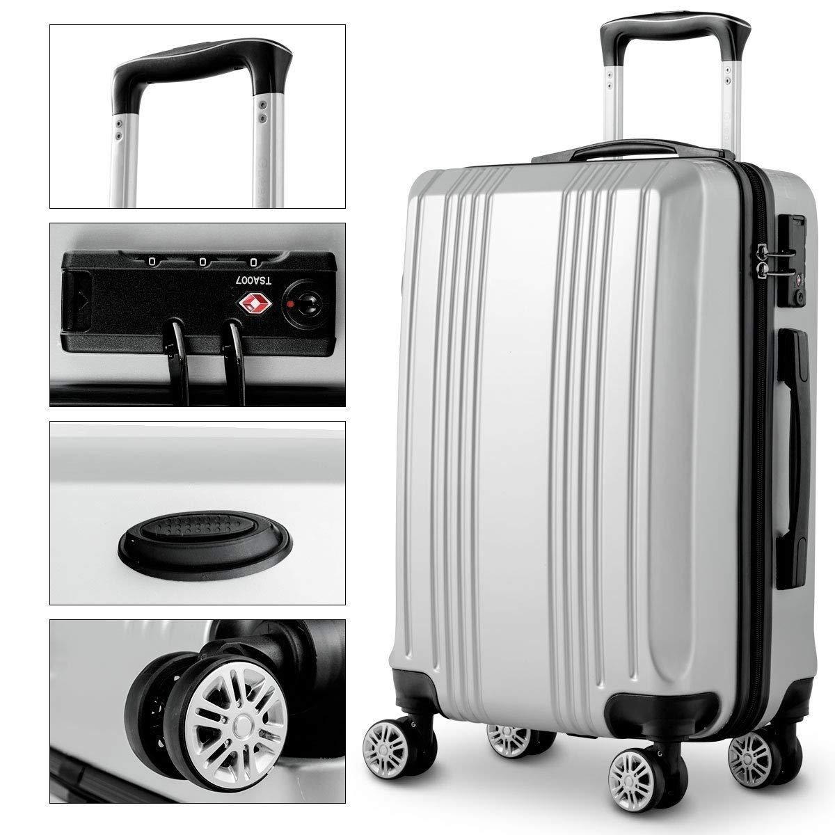 GLOBALWAY 20 24 28 3Pc Luggage Set ABS+PC Trolley Suitcase Spinner w//TSA Lock