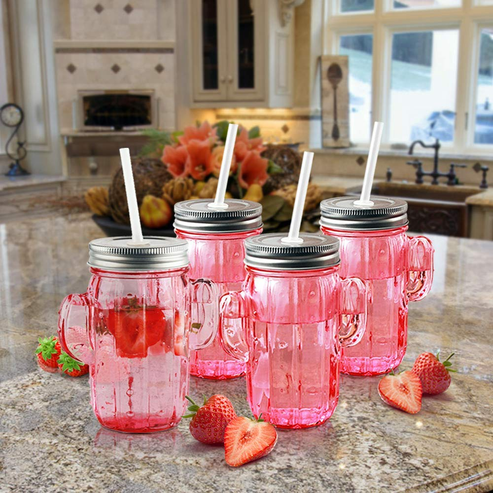 Circleware 06367 Huge Set of 12 Mason Jars Drinking Glasses with Metal Lids and Hard Straws Glassware for Water Beer and Kitchen & Home Decor Bar Dining Beverage Gifts, 15.5 oz, Pink Cactus-12pc by Circleware (Image #5)