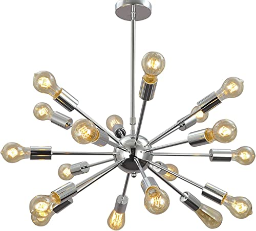 Aero Snail 1621S-18 Silver Vintage Retro Industrial Theme Metal Large Pendant Hanging Light Ceiling Lamp Chandelier 18 Lights Chrome Finish
