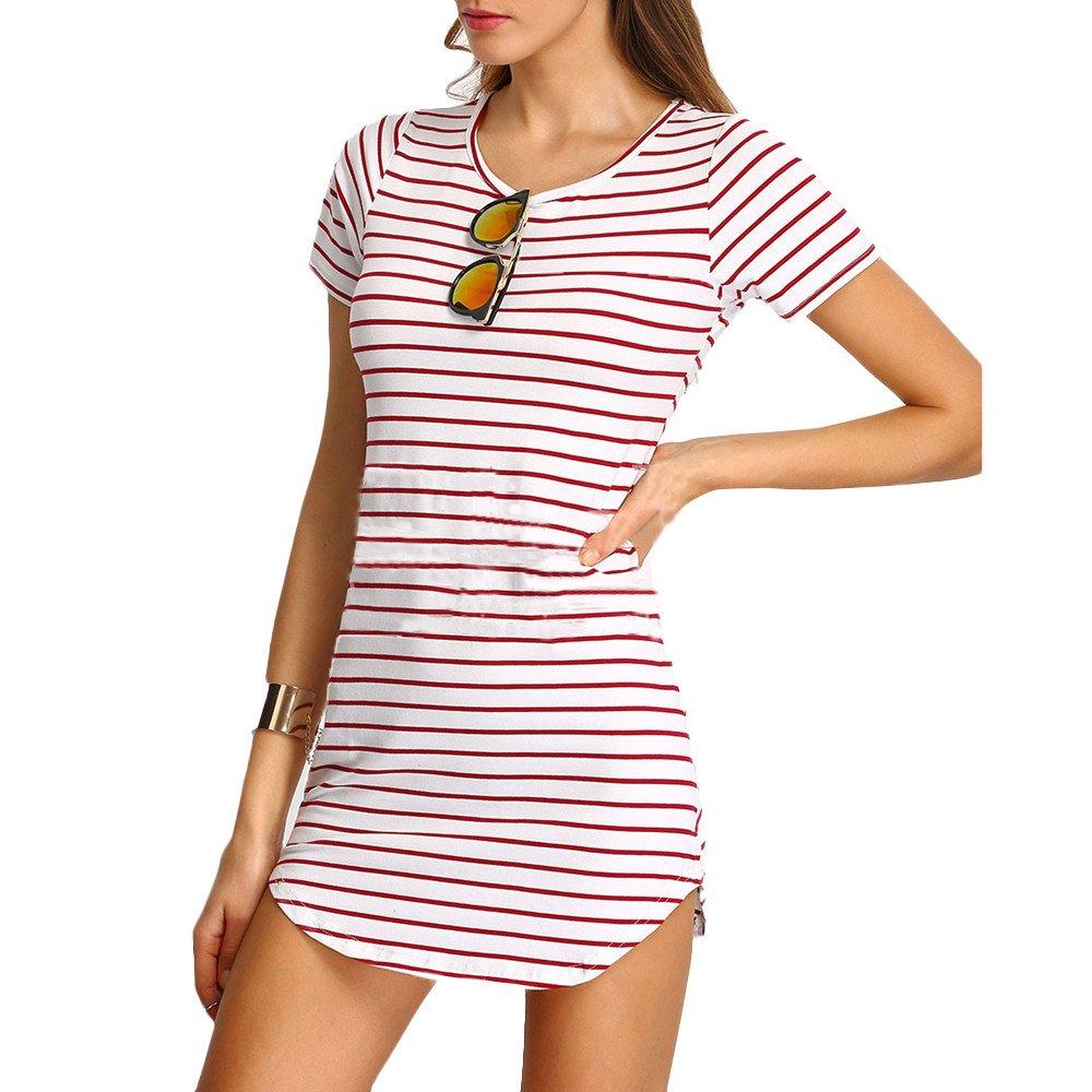 Hengshikeji Mini Dress for Women Fashion Ladies Stripe Printed Short Sleeve Shirt O Neck Casaul Loose Short Shirt Dress Pink