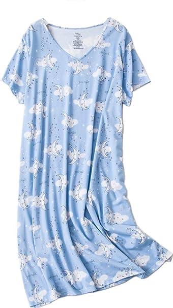 Amoy-Baby Women s Nightgowns Short Sleeves Cotton Sleepwear Print Sleep  Shirt XTSY108-Cloud Moon 74704051d
