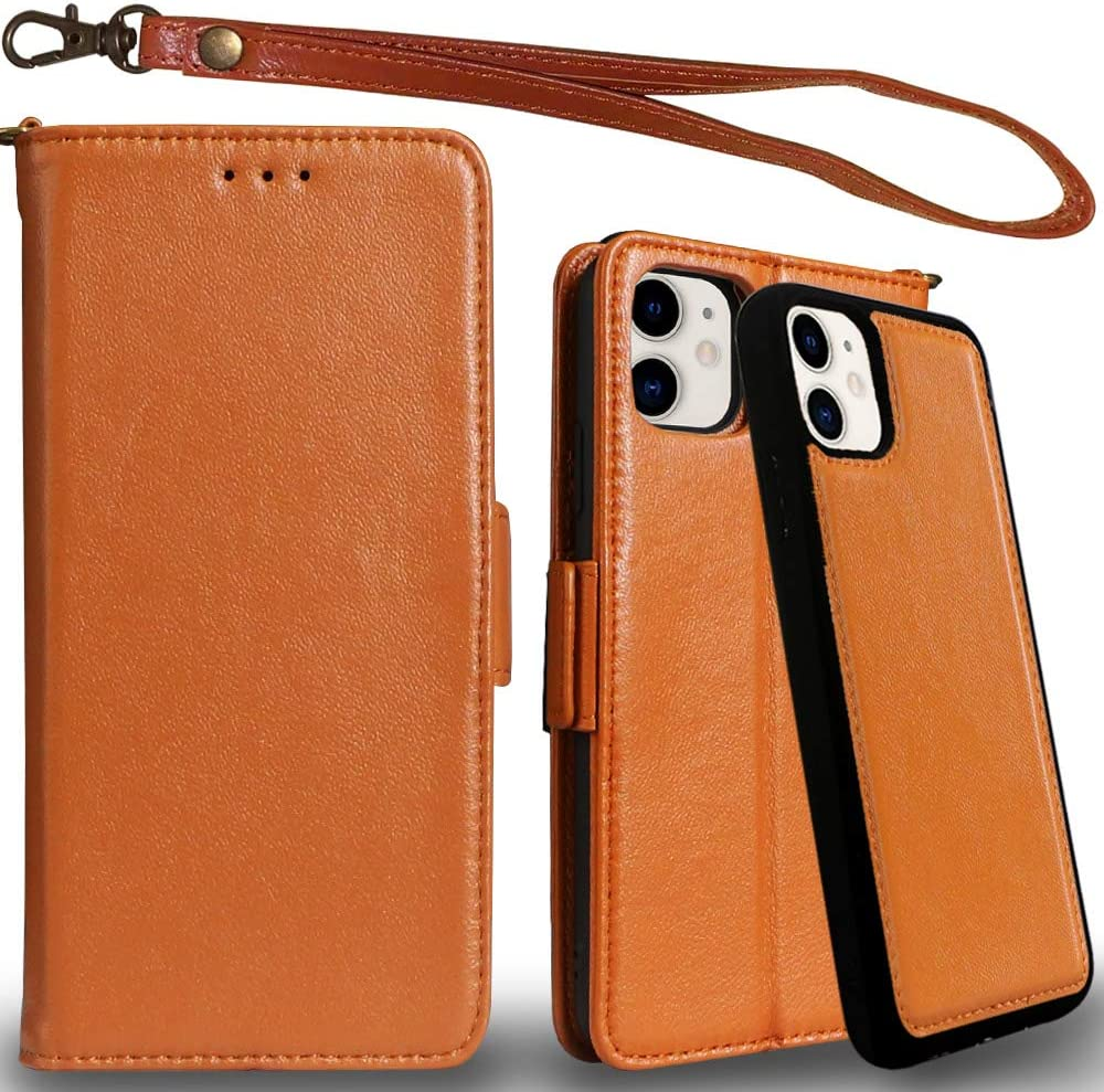 Mefon Genuine Leather iPhone 11 Case Wallet, Magnetic Detachable, Wireless Charging Compatible, with Tempered Glass and Wrist Strap, Luxury Genuine Leather Folio Flip Cases for iPhone 11 6.1 (Brown)