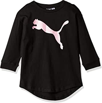 PUMA Girls Girls' Open Shoulder Top Short Sleeve T-Shirt - Black
