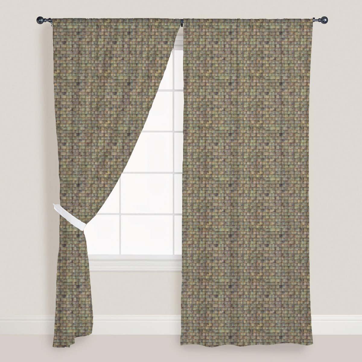 AZ Tiled Art Door & Window Curtain Satin 4feet x 10feet; SET OF 2 PCS