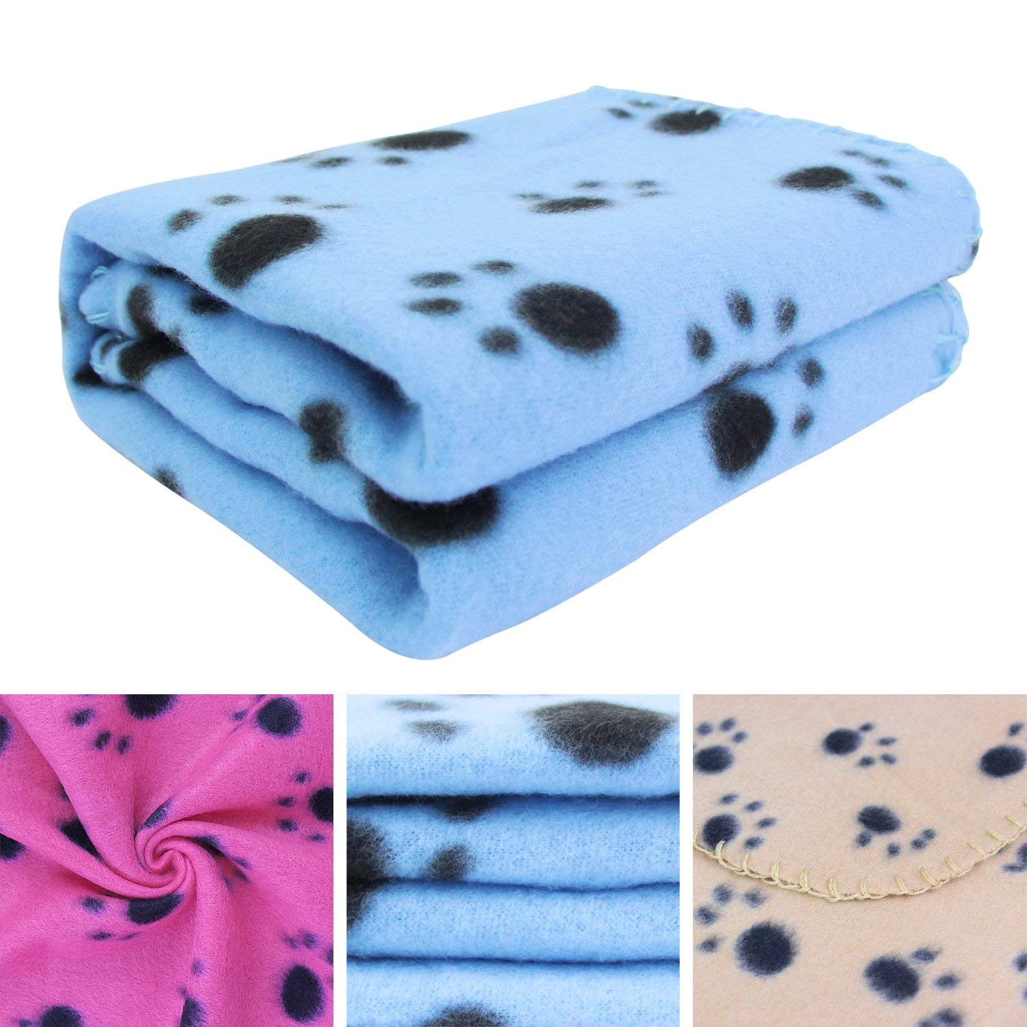 KYC 3 pack 40 x 28 '' Puppy Blanket Cushion Dog Cat Fleece Blankets Pet Sleep Mat Pad Bed Cover with Paw Print Kitten Soft Warm Blanket for Animals (Mixed A) by KYC (Image #4)