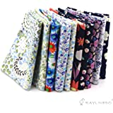 "RayLineDo® 10 Pcs Different Pattern Multi Color 100% Cotton Poplin Fabric Fat Quarter Bundle 18"" x 22"" Patchwork Quilting Fabric Navy and Blue Series"