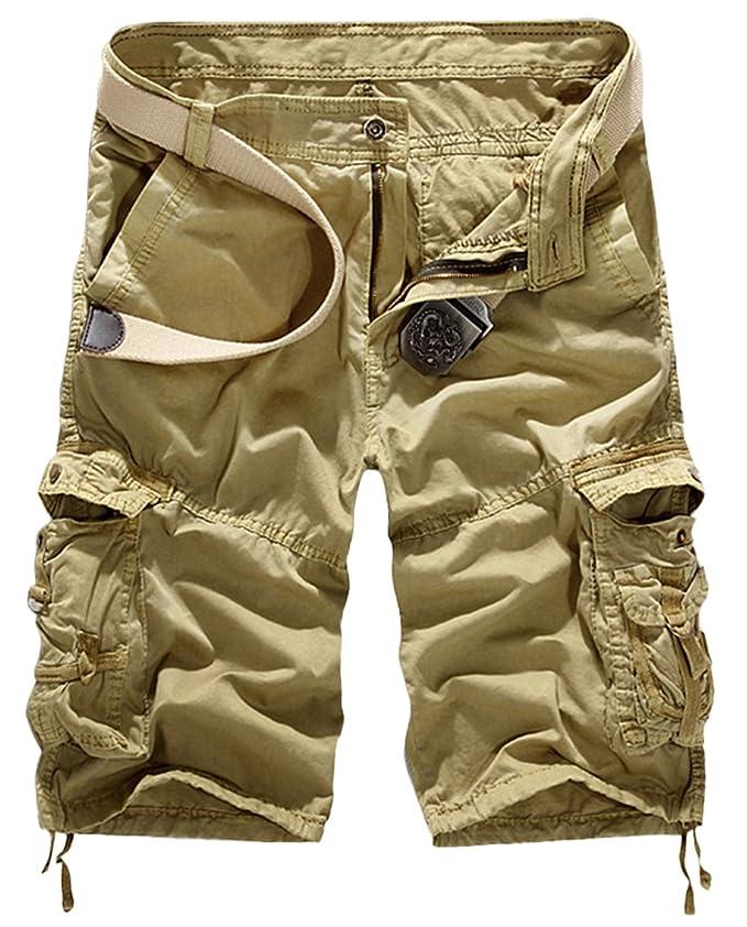 Panegy Herren Casual Vintage Cargo Shorts Bermuda Kurze Hose mit Geschenktem  Gürtel Inch Größe - Khaki: Amazon.de: Bekleidung
