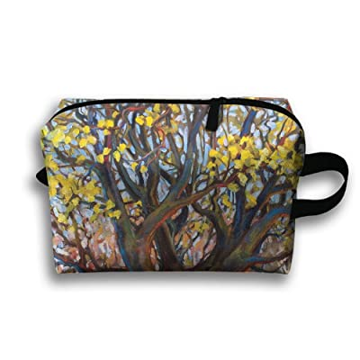 Travel Gadget Organizer Portable Toiletry Bag Cosmetic Pouch Medicines  Storage Holder Yellow Flower Tree High- dd86a31409424