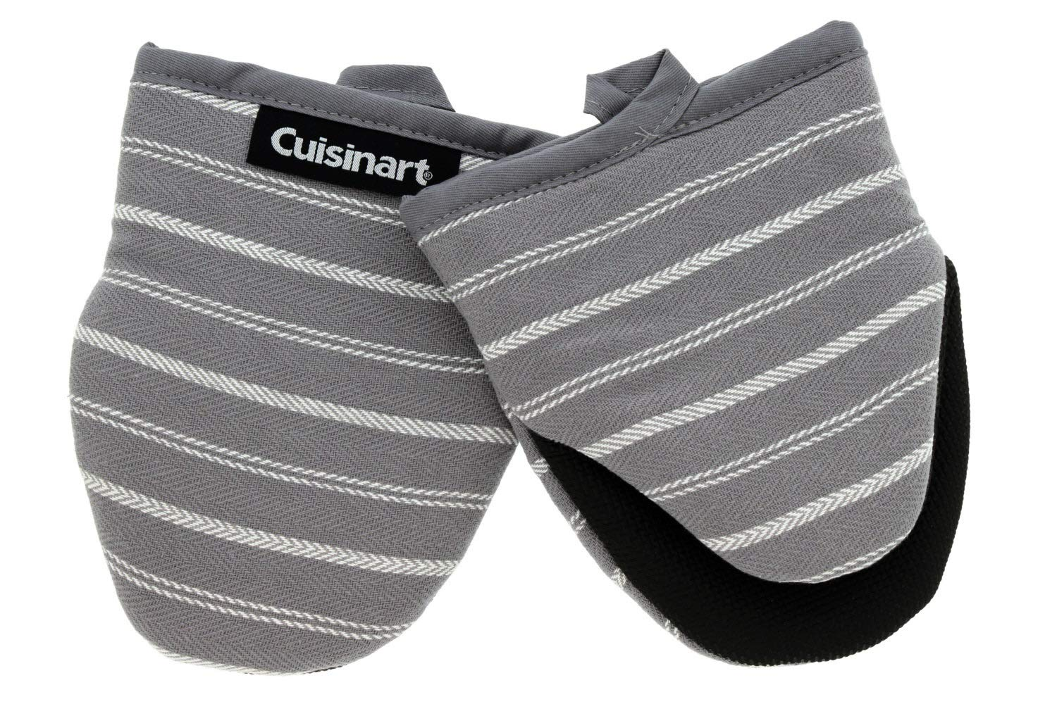 """Cuisinart Neoprene Mini Oven Mitts, 2 Pack – Little Oven Gloves for Cooking - Heat Resistant up to 500 F, Hanging Loop, 5.5"""" x 7""""- Twill Stripe Kitchen Accessory - Titanium Grey"""