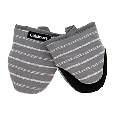 Cuisinart Neoprene Mini Oven Mitts, 2 Pack – Heat Resistant Gloves Protect Hands and Surfaces – No Slip Grip – Hanging Loop – Ideal for Handling Hot Cookware/Bakeware Items – Twill Stripe Titan. Grey