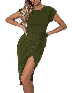 Aifer Women s Wrap Dress Casual Short Sleeve Front Slit Cuffed Cap Sleeves  Summer Maxi Long Dress 986fcea23