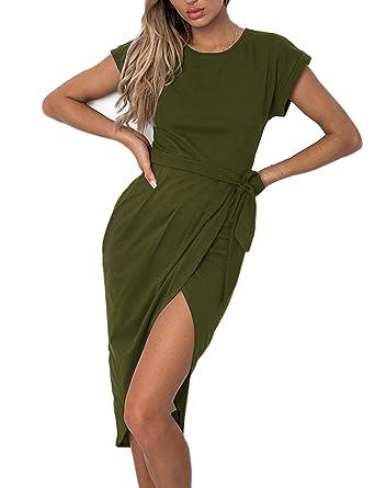 b3b45623a8f Aifer Women s Wrap Dress Casual Short Sleeve Front Slit Cuffed Cap Sleeves  Summer Maxi Long Dress