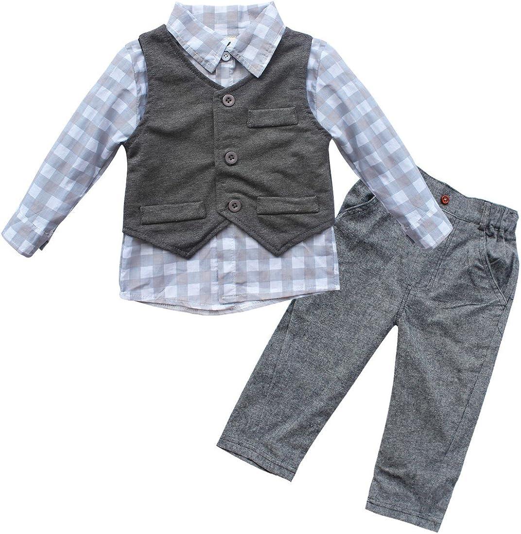 Newborn Baby Boy Waistcoat Vest Pants T-Shirt Clothes 3PCs Gentleman Outfit Set