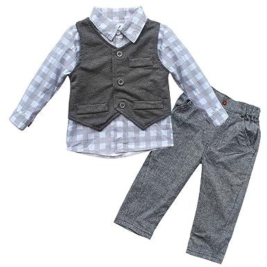 e4d1fa0ed iiniim 3pcs Baby Boys Clothes Waistcoat + Pants + Plaid Shirts ...
