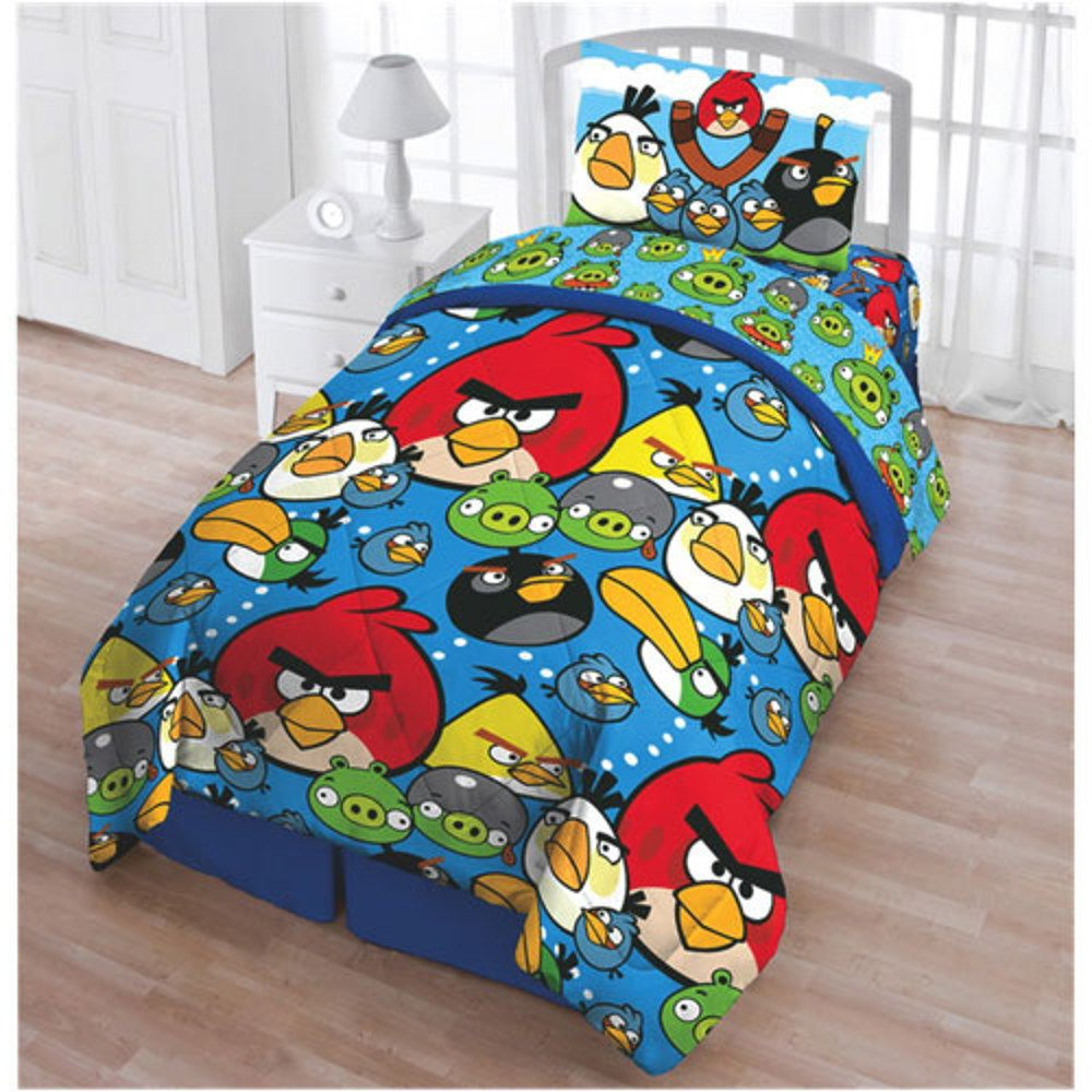 1 Piece Boys Multi Blue Angry Birds Comforter Twin, Red Yellow Black Green Grey Action Packed Game Cartoon Characters Fun Kids Bedding Teen Bedroom Classic Super Soft, Polyester