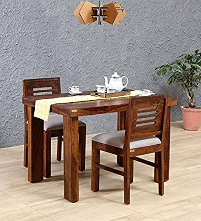 Unique Furniture Solid Wood 2 Seater Dining Table Set With 2 Chairs For Dining Room Sheesham Wood Honey Finish Amazon In Home Kitchen
