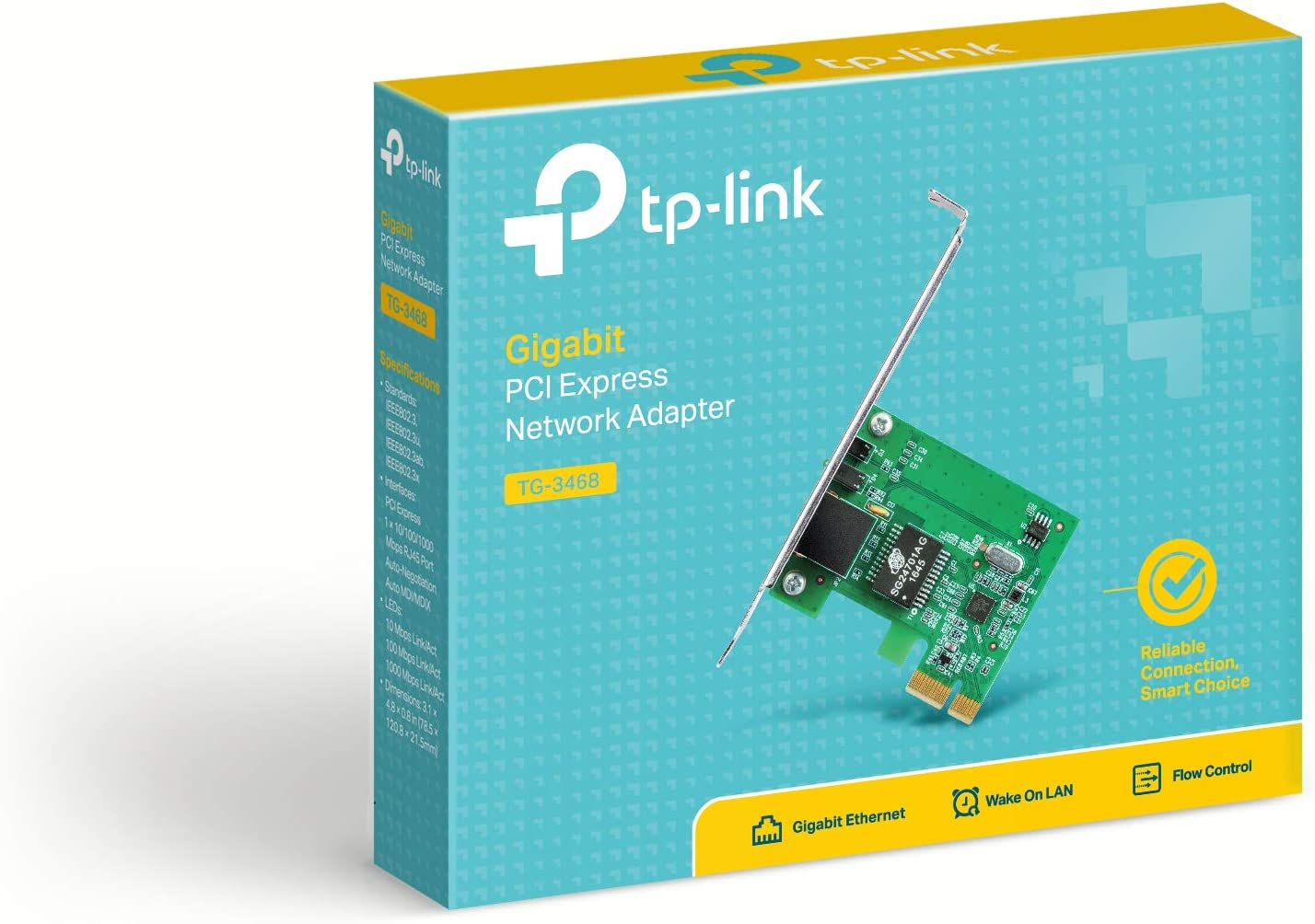 TP-Link 10/100/1000Mbps Gigabit Ethernet PCI Express, PCIE Network Adapter / Network Card / Ethernet Card for PC, Win10 supported (TG-3468)