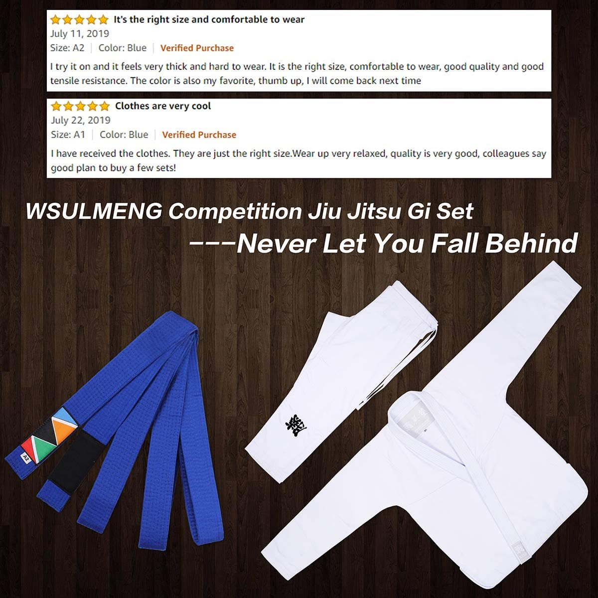 Size A0 to A4 WSULMENG Jiu Jitsu Belt Unisex Pearl Weave BJJ Belt Perfect for Training or Competition