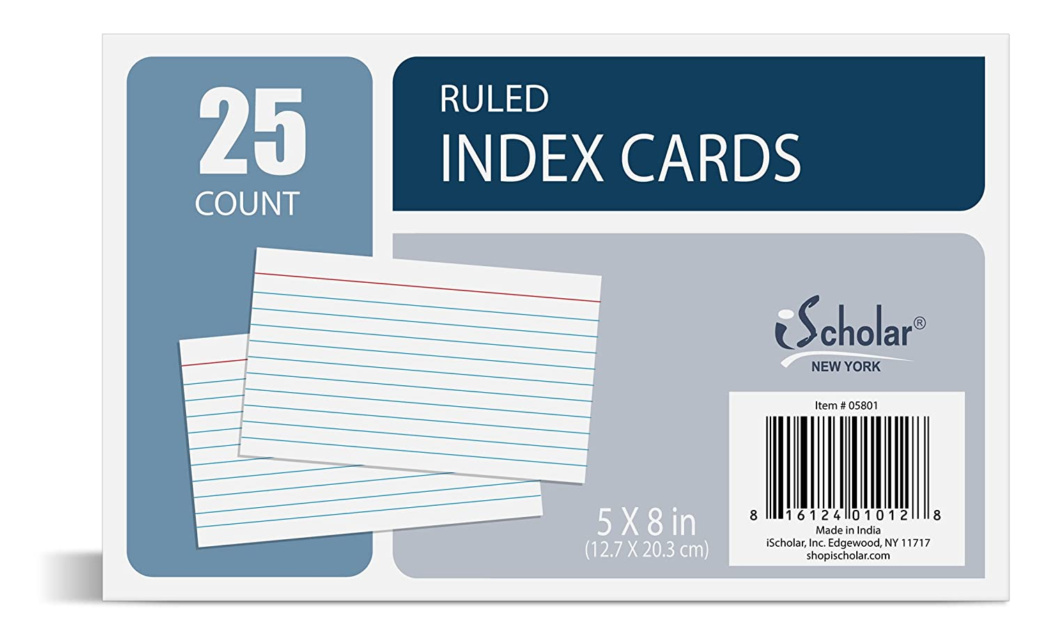 iScholar Jumbo Index Cards, Plain White, Unruled, 5 X 8-Inch, 25 Cards Per Pack - 5800 05800