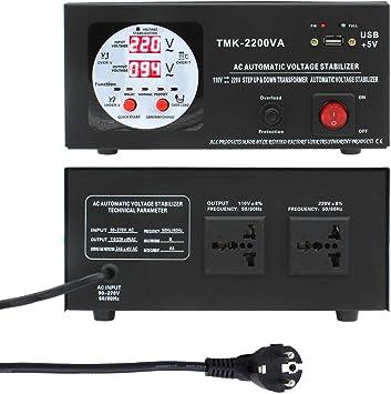 Yinleader Convertidor de Voltaje - Salida 110/220 Voltios CA - Transformador de Núcleo Toroidal EEUU de 2000 Vatios - 110V 220V 2000W Estabilizador de voltaje automático: Amazon.es: Bricolaje y herramientas