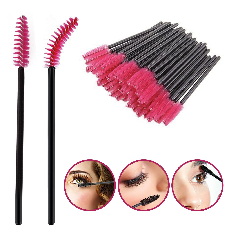 Eyelash Brush Mascara Wands Applicator Spoolers Lash Extensions Makeup Tools (50pcsBlack) NO:1