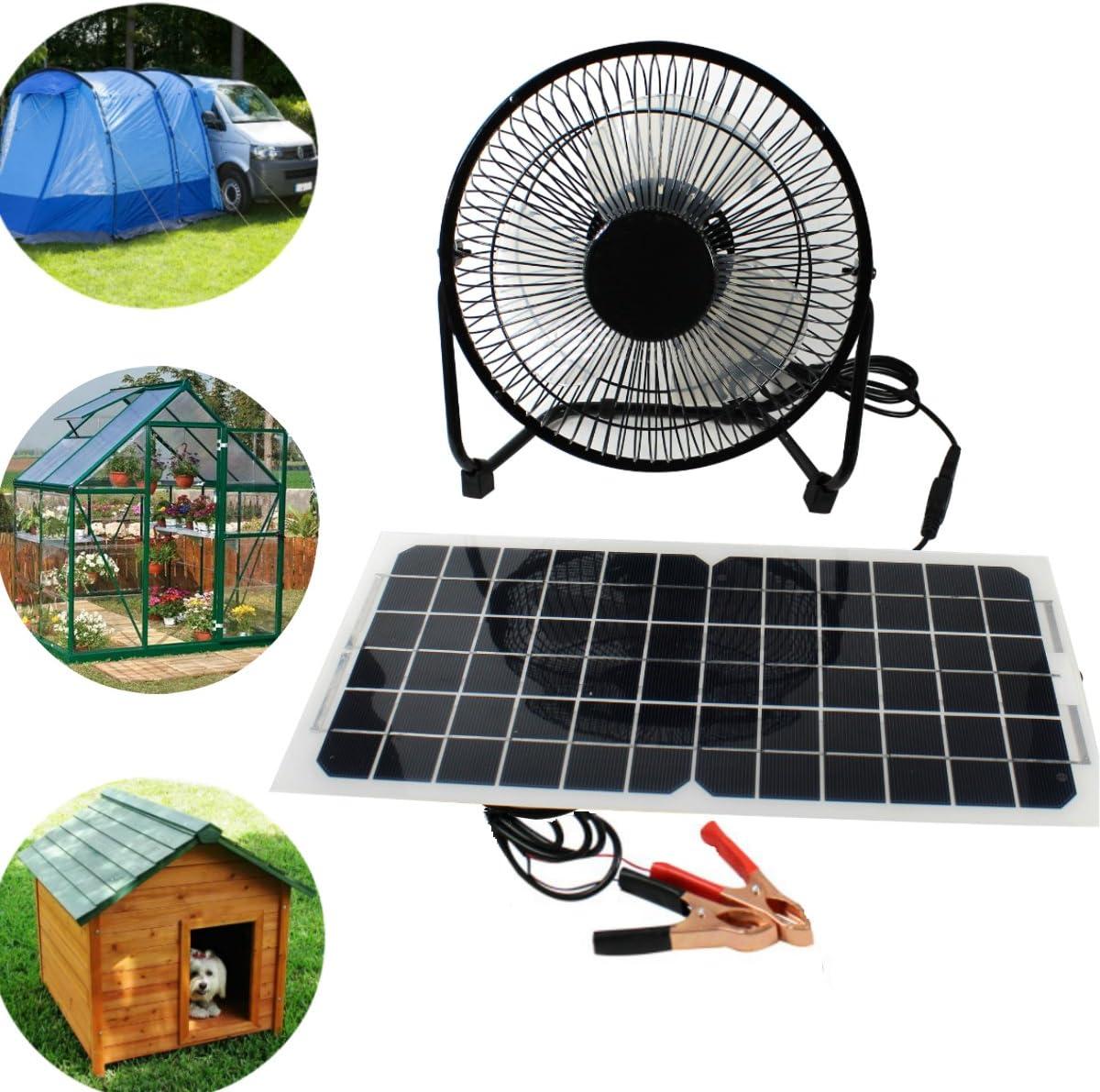 Peakstrom Ventilador USB de Panel Solar 10 W 12 V para Camping, Furgoneta, yate, Invernadero, casa de Perro, Pollo, Aire Libre: Amazon.es: Jardín