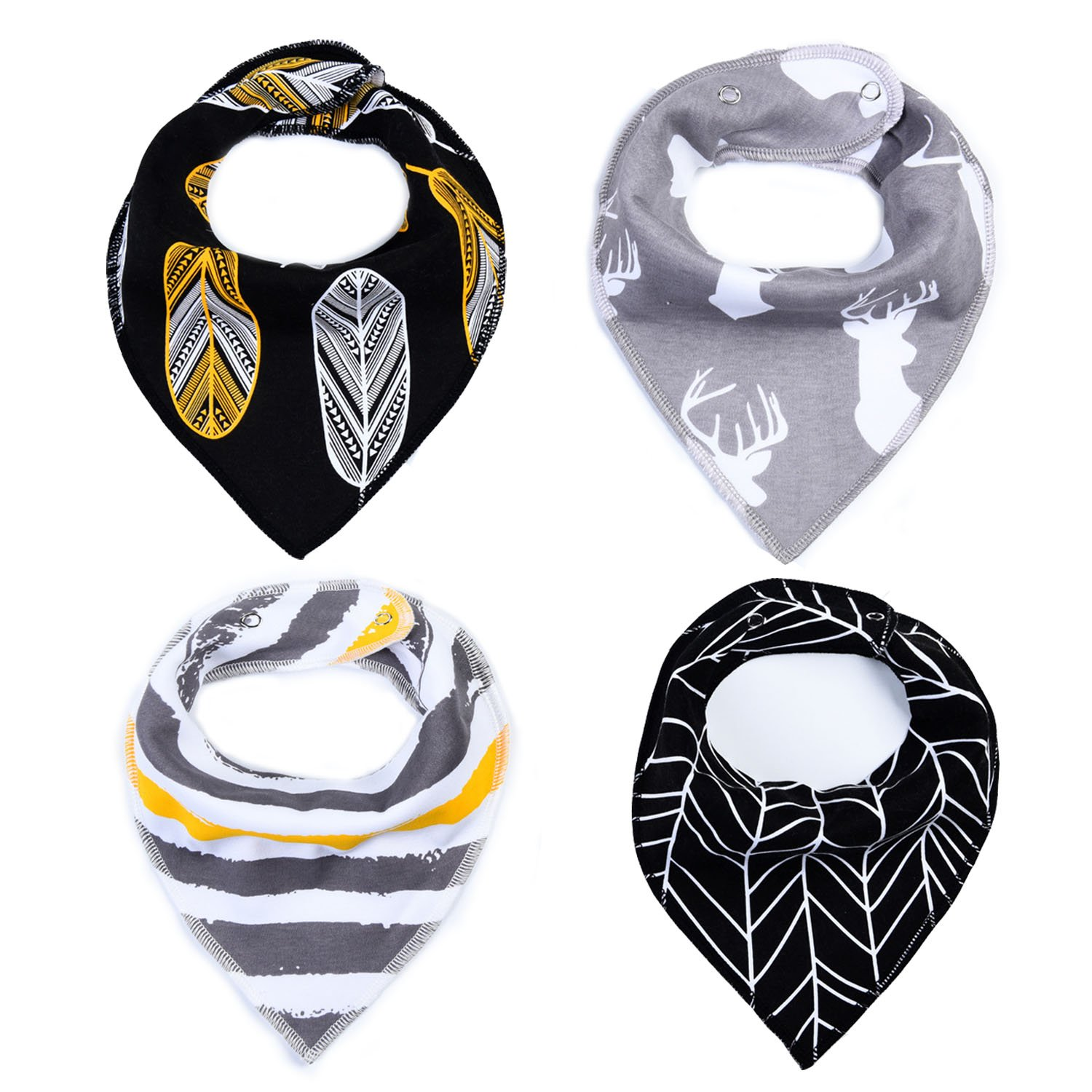Topcoco 4 Pack Baby Boys Girls Bandana Drool Bibs Set for Drooling and Teething TP18011801-1