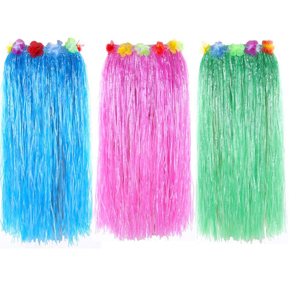 Newcreativetop 32'' Adult's Flowered Luau Hula Skirts Pack of 3,Assorted Colors (BlueGreenPink)