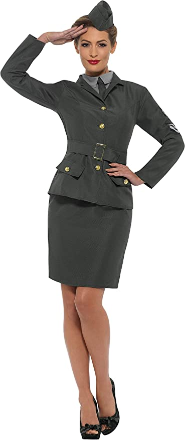 1940s Costumes- WWII, Nurse, Pinup, Rosie the Riveter Smiffys WW2 Army Girl Costume £20.48 AT vintagedancer.com