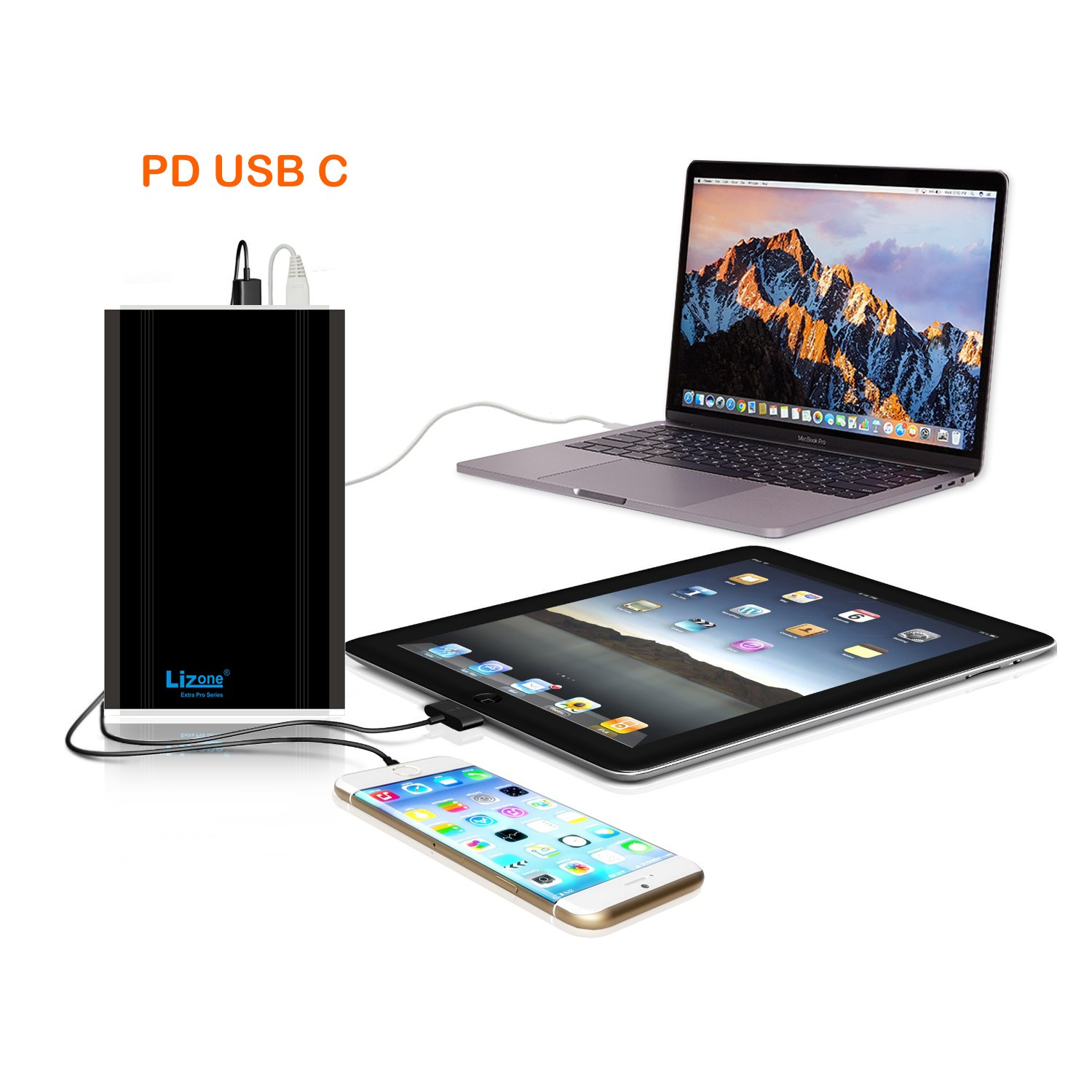 Lizone Extra Pro 50000mAh PD USB C External Battery Power Bank Portable Charger for 2016 2017 Macbook Pro HP Spectre Lenovo Yoga Asus LG Dell Razer Blade Stealth Acer PD USB-C Laptop Tablet Smartphone by Lizone