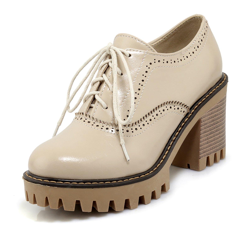 Amazoncom Odema Womens Pu Leather Oxfords Brogue Wingtip Lace Up