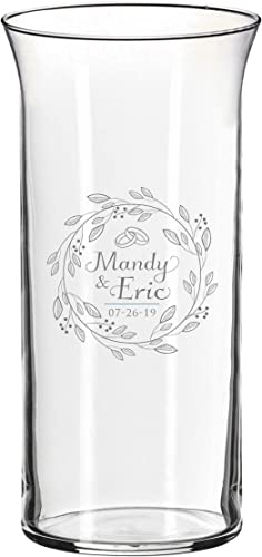 Monogrammed Center Piece Flower Vase for Weddings, Anniversaries, Couples, Engagements – Custom Etched