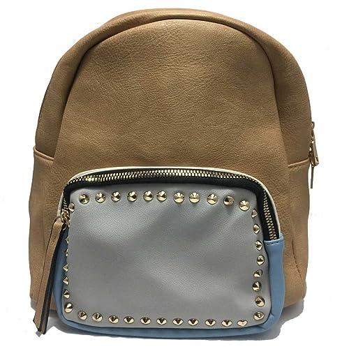 Bolso mochila con bolsillos y detalle tachas color camel azul: Amazon.es: Zapatos y complementos