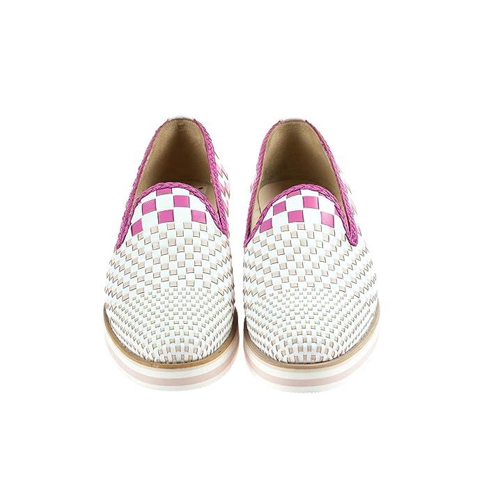 Pertini Damen Halbschuh Slipper Leder Weiß Rosa, Schuhgröße:40