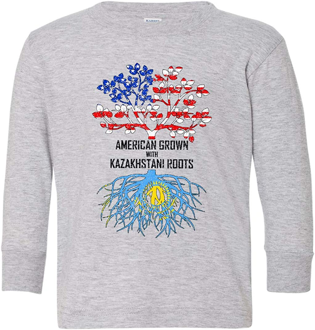 Tenacitee Toddlers American Grown with Kazakhstani Roots Long Sleeve T-Shirt