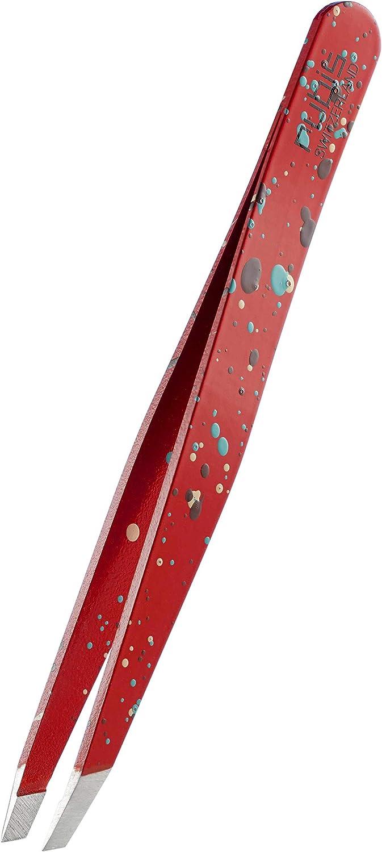 Rubis Action Painting - pinzas para cejas - punta oblicua - acero inoxidable -blanca - producto suizo de alta calidad