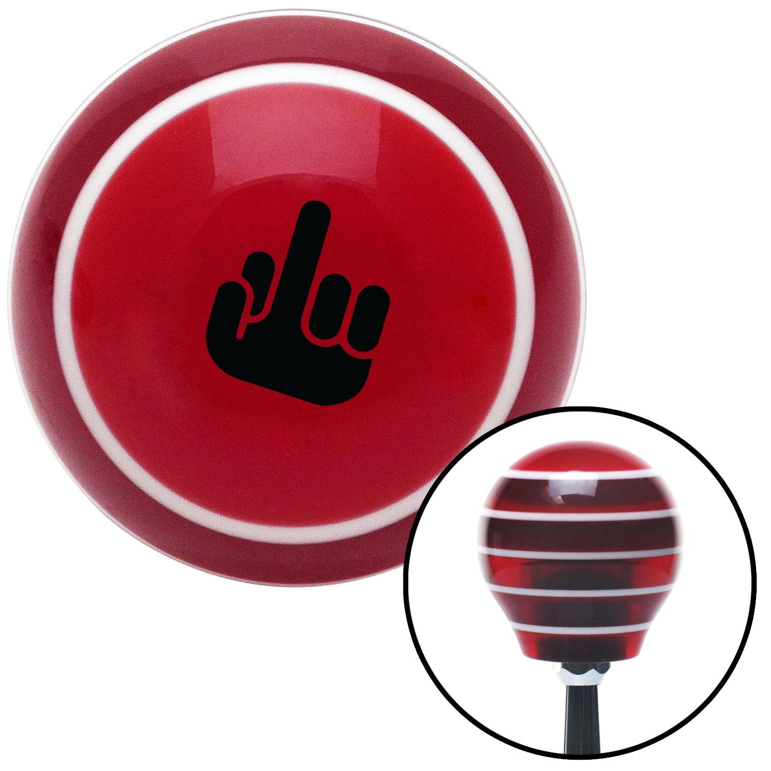 American Shifter 274172 Shift Knob Black Middle Finger Solid Red Stripe with M16 x 1.5 Insert