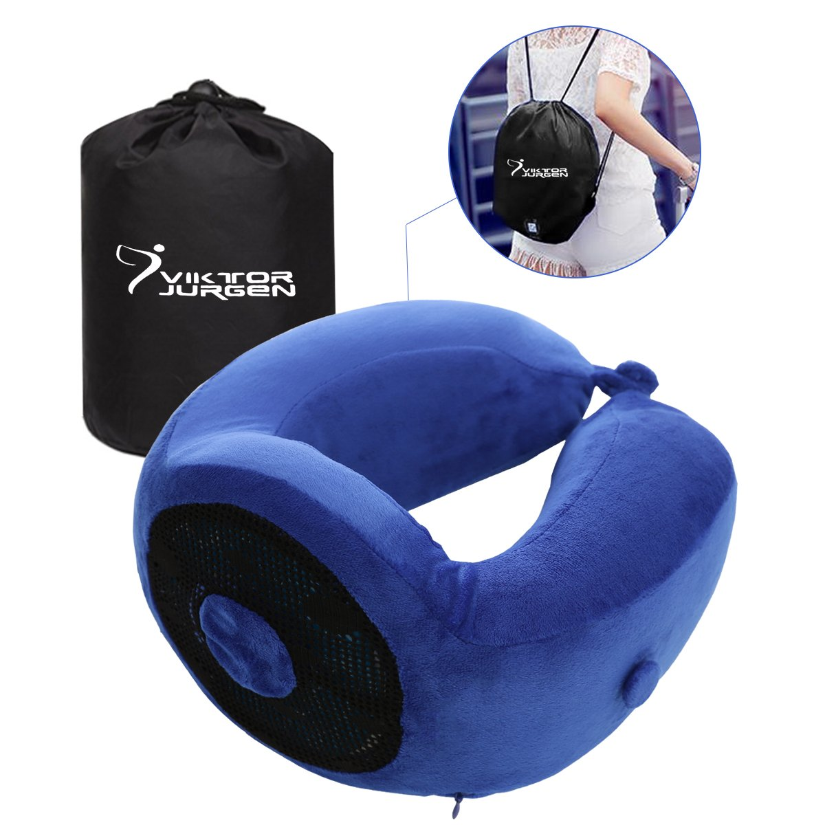 VIKTOR JURGEN Travel Neck Pillow Memory Foam and Cooling Gel Pillows with Head & Neck Support - Designed for Airplane/ Car/ Bus/ Train/ Office Rest and School Napping