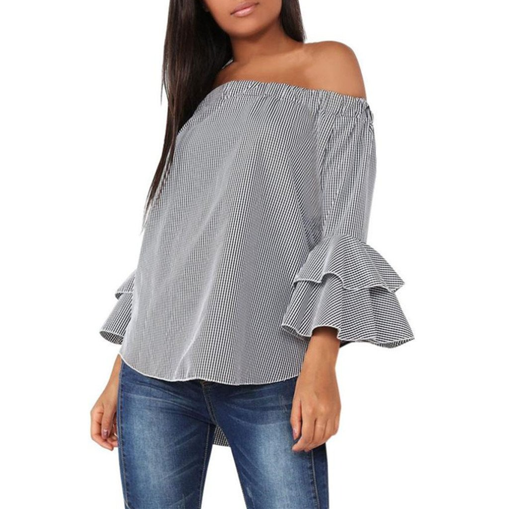Blouse FUNIC Women Plaid Shirt Long Sleeve Blouse Off Shoulder Tops Gray Flare Sleeve (M Gray) E5175