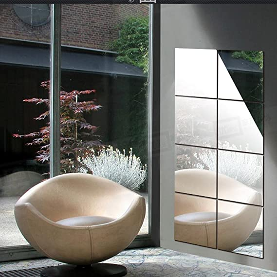 Symboat Autocollant Mural de Miroir de Bricolage carr/é Auto-adh/ésif Salle de Bain d/écor Art Sticker Miroir