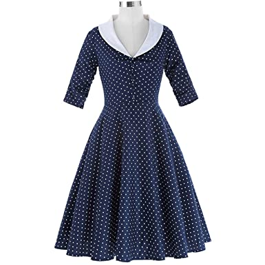 better-caress Women 50s Vintage s Dresses Party Rockabilly Vestidos Mujer Button V-Neck