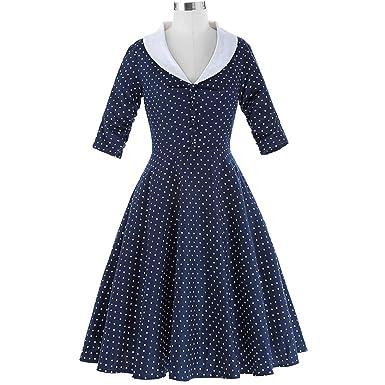 better-caress Women 50s Vintage s Dresses Party Rockabilly Vestidos Mujer Button V-Neck