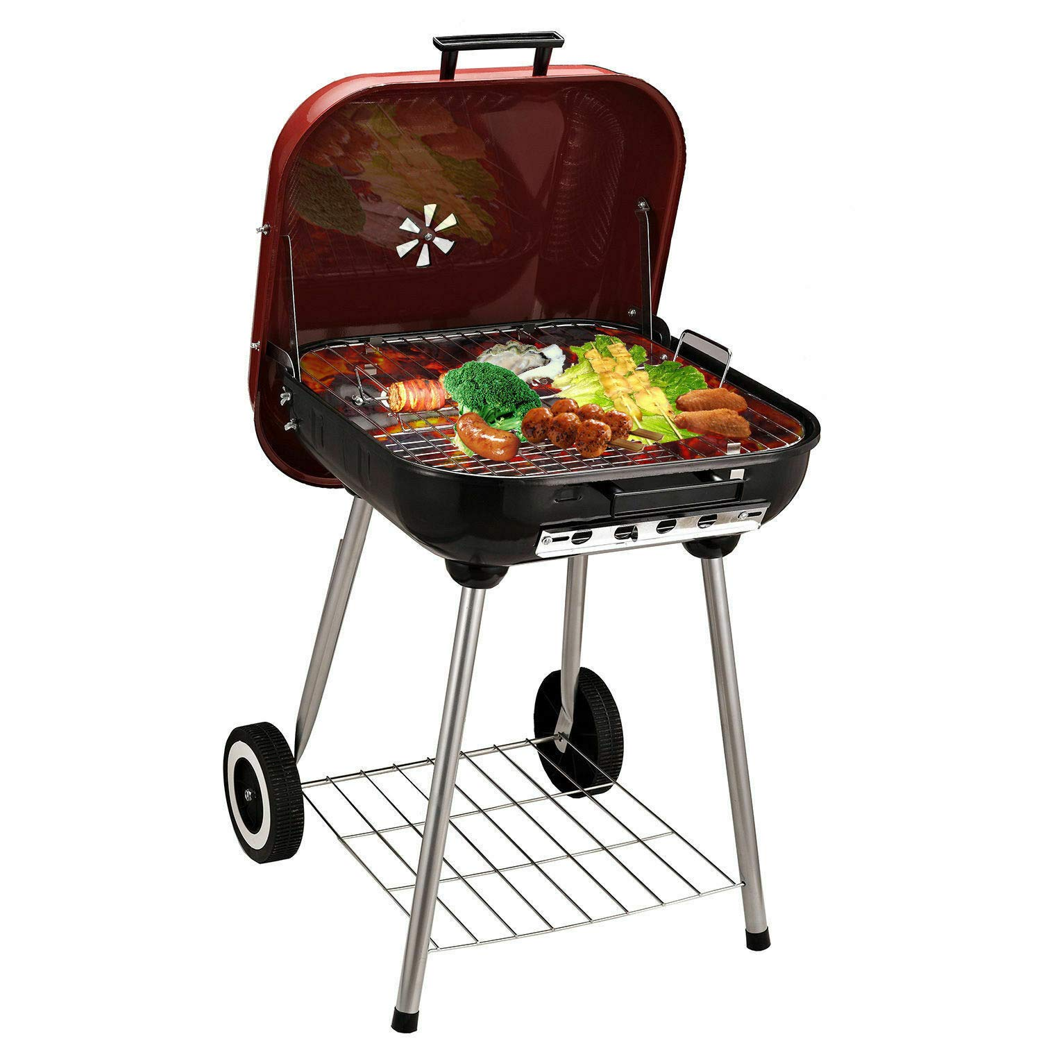Barbecue Charcoal Grill Pot Generous Cooking GrillingPortable Outdoor 22 Inch
