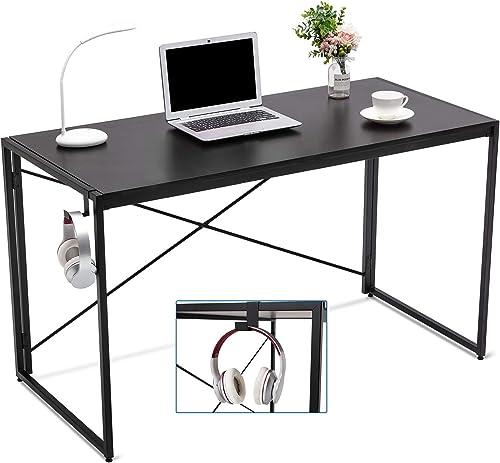 Cozy Castle Computer Desk Folding Desk 47'' Inch Desk Black Desk Deak Small Desk